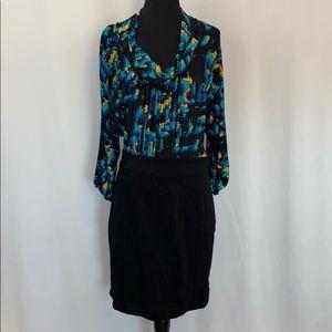 BCBG Maxazria Dress Blue Turquoise Black Size 8